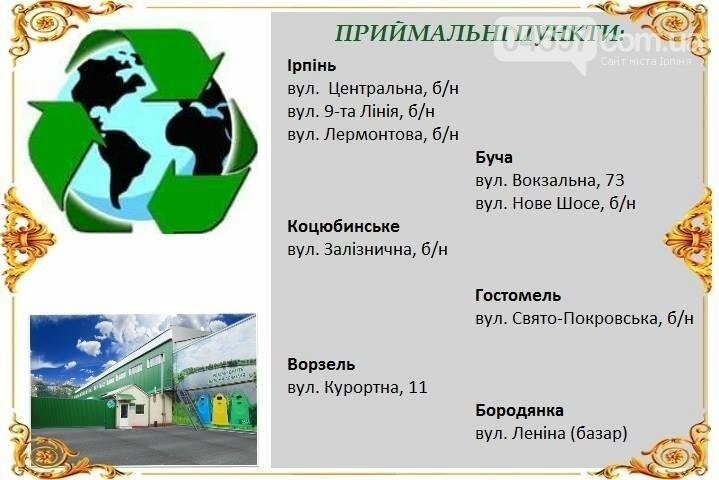 Адреси, за якими встановлені контейнери для сортування сміття в Бучі та Ворзелі, фото-1
