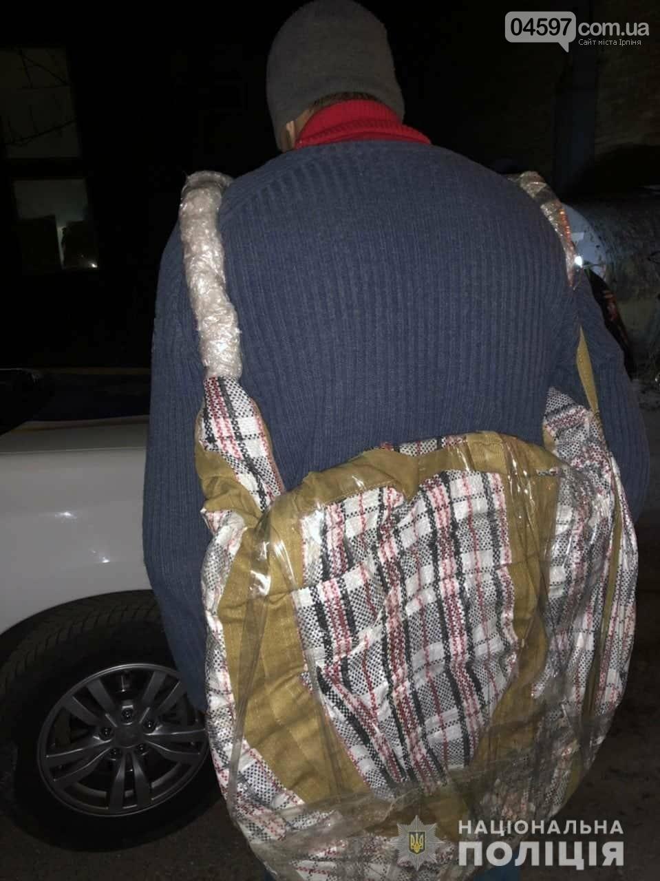 В Ірпені поліція затримала чоловіка, який заховав викрадений люк у саморобному «наплічнику», фото-1