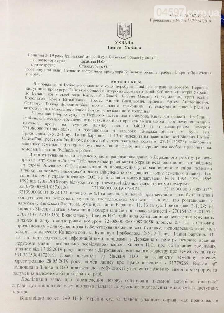 Суд арештував земельну ділянку Зіневича, фото-2