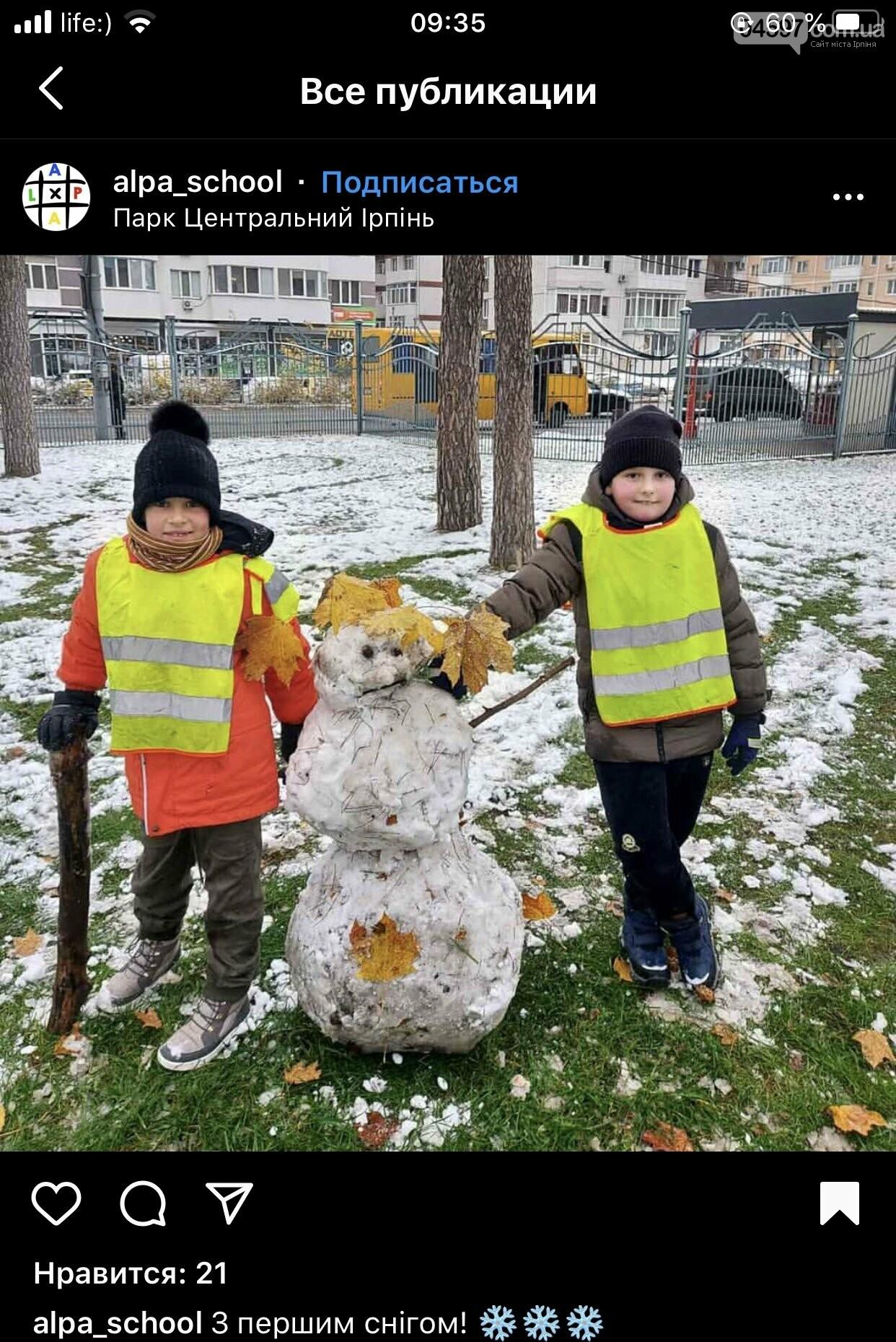 Сніг не тане: в Ірпені зліпили перших сніговиків, фото-1