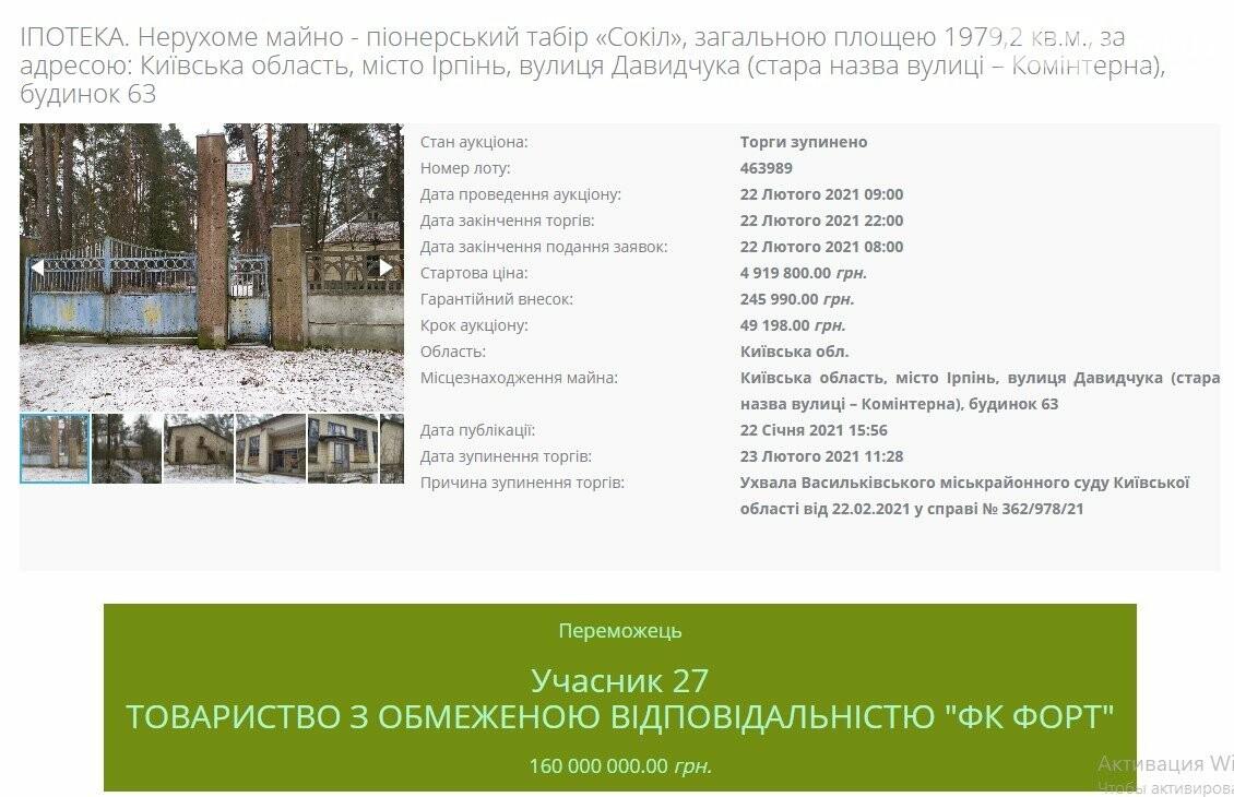 Табір Сокіл на аукціоні, Київщина