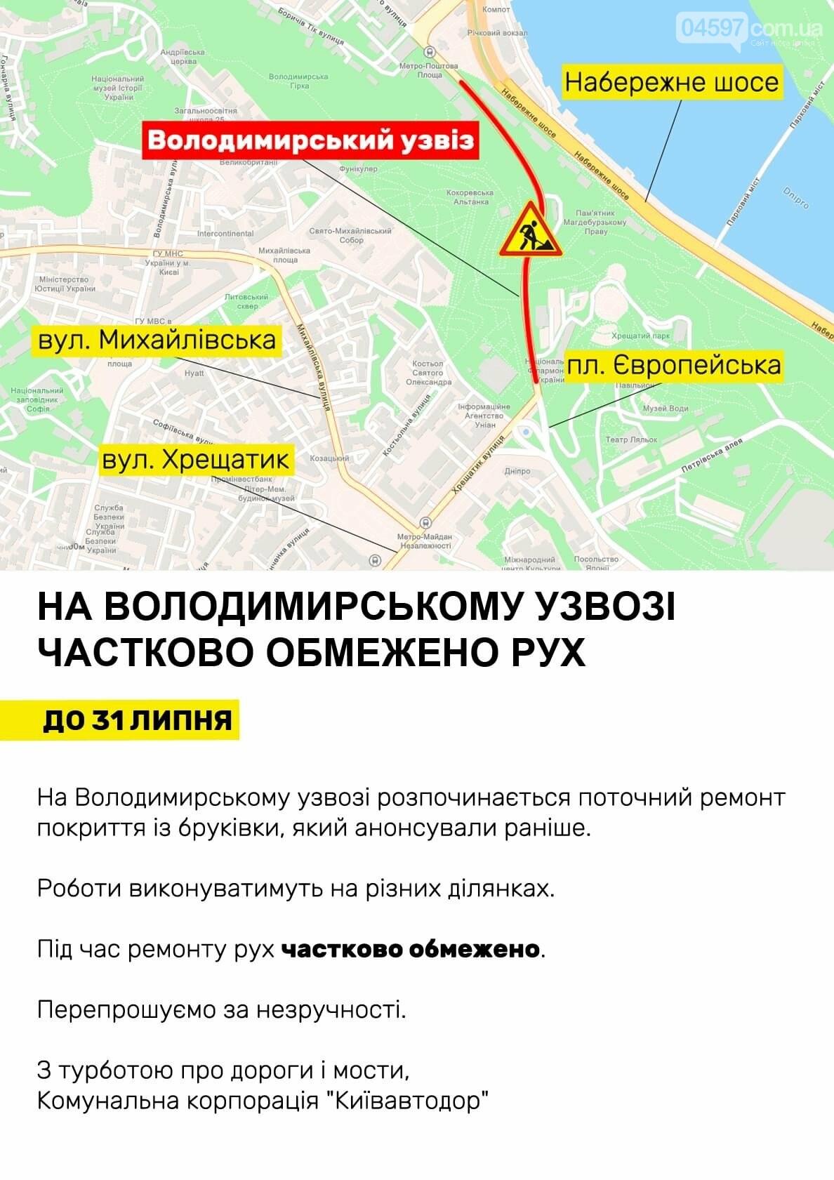 Де в Києві обмежать рух